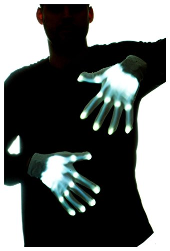 GlowCity Glow-In-the-Dark LED Skeleton Gloves - Flash or Static Light Up Modes]()
