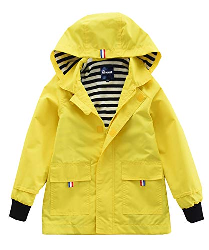 Hiheart Boys Waterproof Hooded Jackets Cotton Lined Rain Jackets (4T, Yellow) -