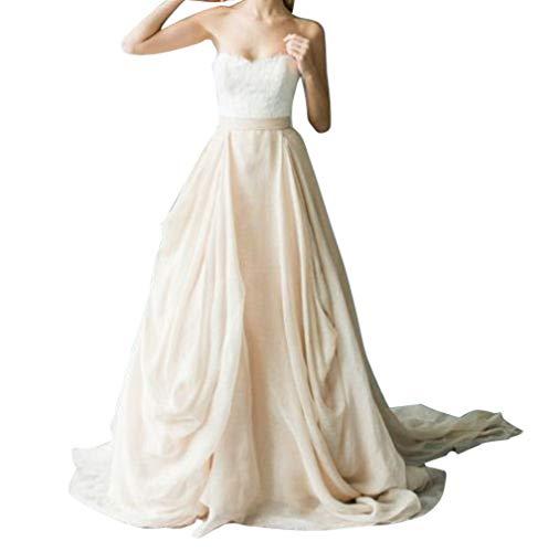 flowerry Chiffon Ruffle Short Train Wedding Bridal Skirts Women Full Length Party Skirt (XL, Blush)