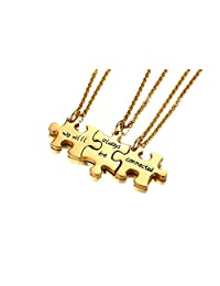 VNOX Friendship Jewelry 3 Pcs Set We Will Always be Connected Puzzle Piece BFF Necklaces,Gift for Best Friend