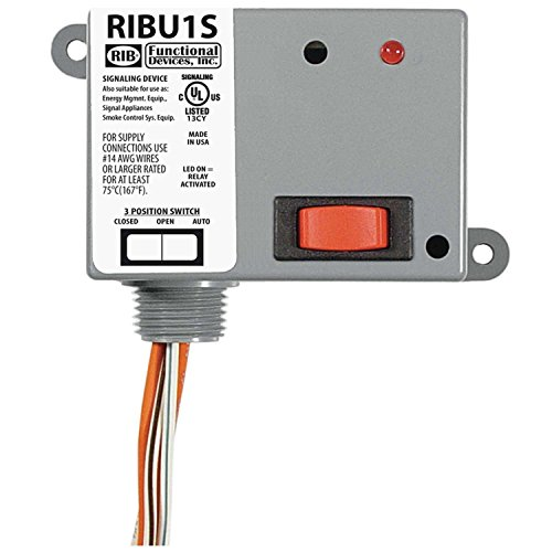 Functional Devices RIBU1S Enclosed Pilot Relay, 10 Amp Spst-N/O, Override with 10-30 Vac/Dc/120 Vac ()
