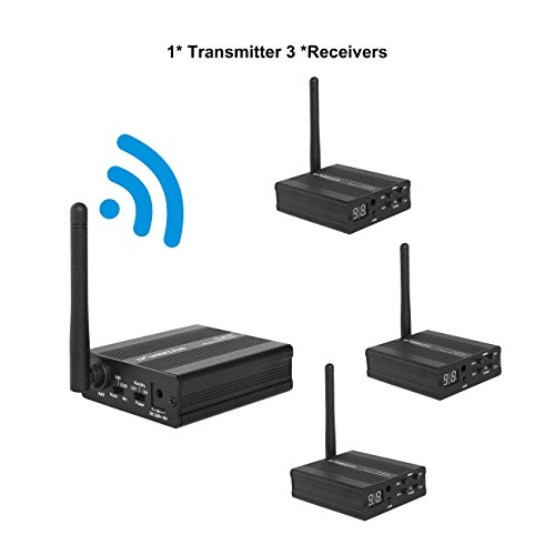 TP-WIRELESS 2.4GHz/5.8GHz Digital Wireless HDCD Audio Adapter Music Sound Transmitter and Receiver (2.4GHz 1 Transmitter and 3 Receivers) by TP-WIRELESS