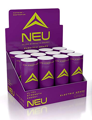 NEU Extra Strength Nootropic Energy Shots, Energy Drink: Brain Booster Focus Supplement, Coffee Alternative Nutritional Drink + Pre Workout with Zero Sugar - Electric Grape 2oz. (12 Pack)