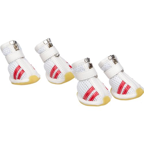 PET LIFE 'Air-Mesh' Flexible Lightweight Sporty Fashion Breathable Pet Dog Shoes Sneakers Booties Boots w/ Rubberized Grips, X-Small, White & Red from Pet Life