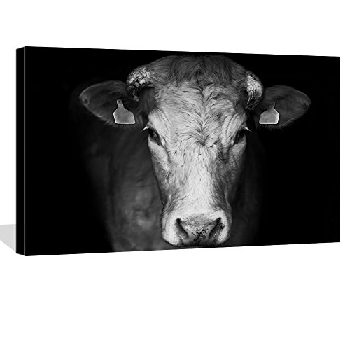 LevvArts - Cow Canvas Print,Portrait of Sad Farm Cow on Back Background Wall Art Stretched Wood Frame,Black and White Animal Canvas Pictures for Living Room Decoration,Ready to Hang