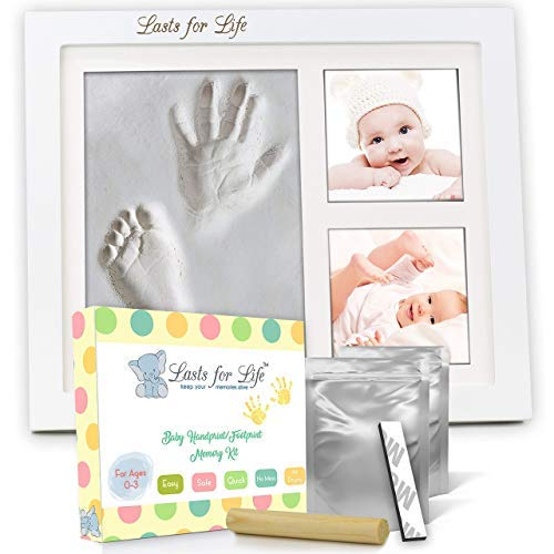 (Your Baby's Handprint Footprint Memory Kit - Engraved Version! Premium Quality Clay Mold & Picture Frame Keepsake Kit, Unique Baby Shower Gift)