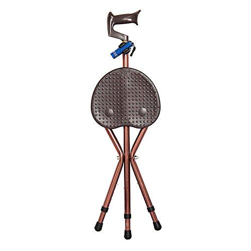 XIHAA Elderly Tripod Crutch Stool Thick Aluminum Alloy LED Light Portable Cushion Crutch Stools Adjustable Non-Slip Massage Travel Sports Fishing Brown Plus ()