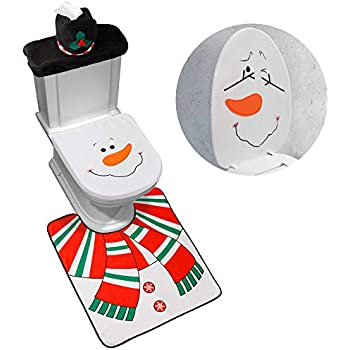 Wondrous Amazon Com Ohuhu Santa Toilet Seat Cover 4 Piece Christmas Pabps2019 Chair Design Images Pabps2019Com