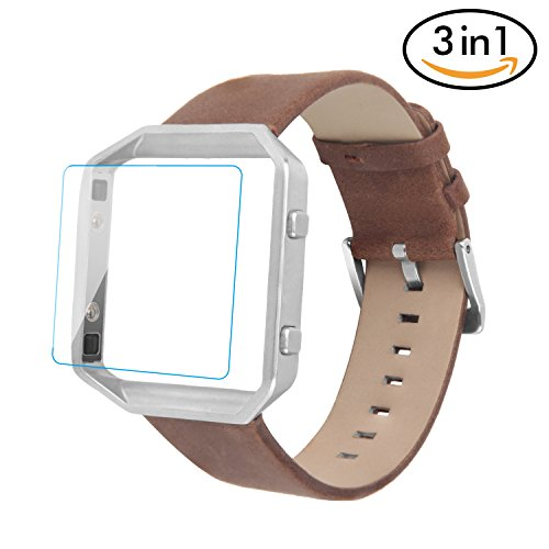 For Fitbit Blaze Bands 3 in 1 Watch Wristband Strap Leather Replacement, Protective Case Cover Silver Frame with Screen Protector,Smart Fitness Watch Classic Bracelet for Men Women, Brown