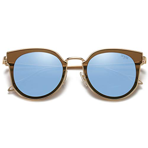 SOJOS Fashion Round Polarized Sunglasses for Women UV400 Mirrored Lens SJ1057 with Gold Frame/Dusty Blue Mirrored Lens