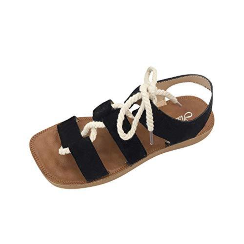 Caopixx Flat Elastic Sandals for Women 2019 Flat Sandals CrissCross Open Toe Wide Elastic Strap Shoes