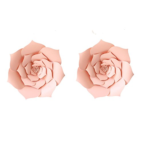 LG-Free 12 inch 2pcs Party Paper Flower Backdrop DIY Handemade Flower Wall Backdrop Decoration Wedding Rose Flower for Nursey Birthday Home Decor (2pcs, Lt-Pink) -