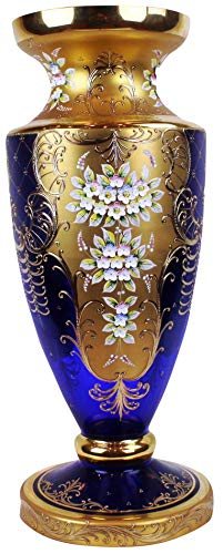 Antique Cobalt Blue Cased Art Glass Vase With Enameled Flowers ()