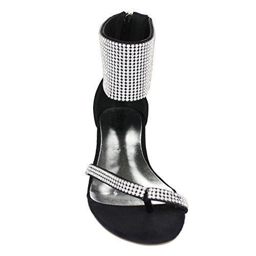 Aarz señoras de las mujeres de la tarde ocasional Comfort plana Diamante deslizador de la sandalia de los zapatos de Gladiador Tamaño (Negro, Plata, Oro, Champagne) Negro