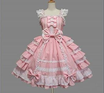 f62f09451 ゴスロリィタ Lolita ロリータ服 衣装 洋服 COSMAMA LLTLZY0029 ピンクとホワイト ノースリーブ/袖無し ゴシック