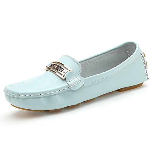Casual Guida on Shoe Pelle Vintage Confortevole Mocassini Blue Slip Lazutom In Eqz85E6