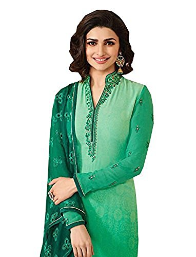 (Laxminarayan Georgette Embroidered Churidar Straight Salwar Suit with Nazmeen Dupatta (Light Green,)