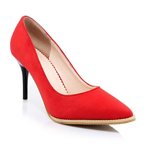 VogueZone009 Women's Pull On Pointed Closed Toe Spikes Stilettos Solid Pumps Shoes Red