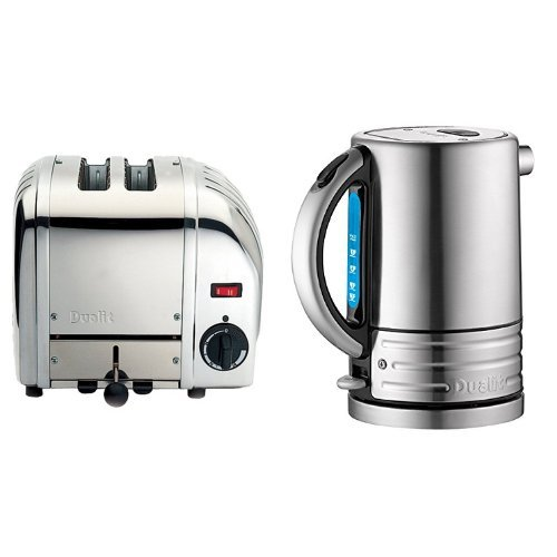 Dualit Classic 2-Slot Toaster - Stainless Steel & Dualit 72905 Architect Stainless Steel Kettle, 1.5L, Brushed Stainless Steel kitchen appliances two-slice