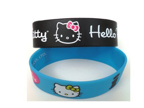 Hello Kitty Bracelets- Rubber Wristbands Black and Blue Pack