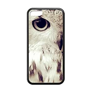 Black and White Photograph Animal Series Fashion Owl Design Hot Custom Luxury Cover Case For Iphone 5C(Black) with Best Silicon Rubber ALL MY DREAMS hjbrhga1544
