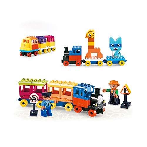 Pkjskh 60 Pcs Train Theme Building Blocks Boys and Girls Insert to Build Small Particles Building Blocks 1-2-3-6 Years Old Train Series Assembling Blocks Fun Interactive Logic Thinking Training Toys