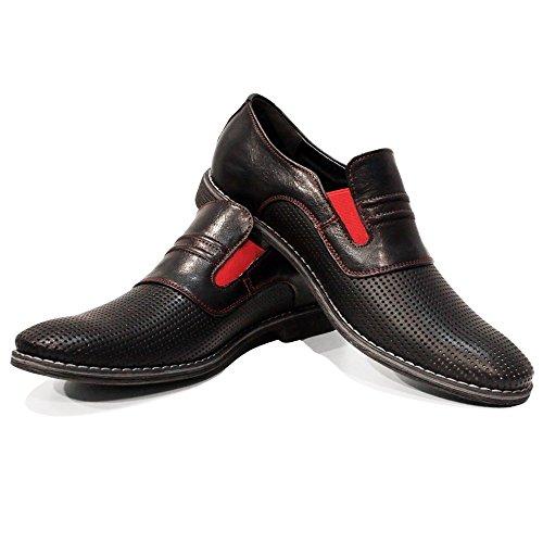 Herren Modello Leder Mokassins Fera Rindsleder und Slip Ons Handgemachtes Schlüpfen Müßiggänger Italienisch Geprägtes Schwarz Leder wtfFtInrq