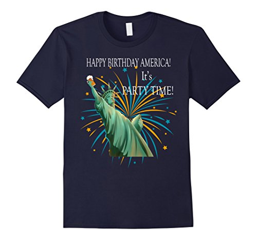Mens Happy Birthday America It's Party Time! 2XL Navy