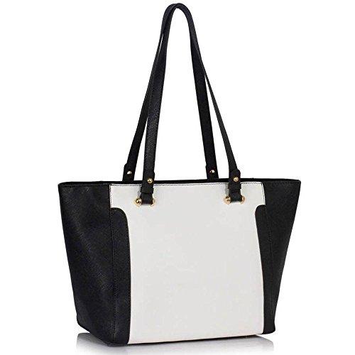TrendStar - Bolso de tela para mujer negro C - Black/White