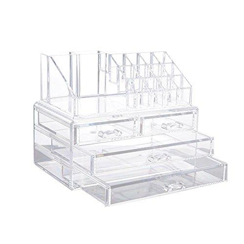 Acrílico Joyería Maquillaje Cosméticos Organizador, PAWACA baño cajones caja de almacenamiento caso transparente para...