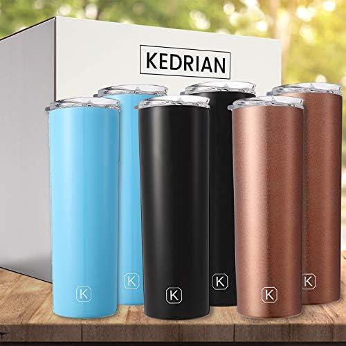 KEDRIAN 6-Pack Skinny Tumbler Set (2x Black, 2x Rose Gold, 2x Blue), 20oz Skinny Stainless Steel Tumblers, Bulk Vacuum Insulated Skinny Tumbler With Lids And Straws