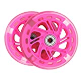 AOWISH 120 mm Light Up Scooter Wheels Pair, LED Flashing PU Replacement Wheels with Bearings ABEC-7 for Kids Toddler Micro Mini Deluxe Kick Scooters - Clear Wheel Red Hub
