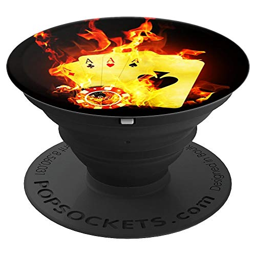 (Poker Player Pop Socket Playing Cards Four Of Aces Fire - PopSockets Grip and Stand for Phones and Tablets)