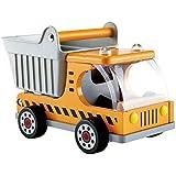 Hape Dump Truck Kid's Wooden Construction Toys Vehicle Multicoloured, L: 10.2, W: 5.7, H: 6.6 inch