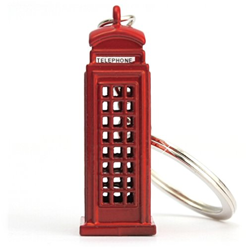 London Telephone Box Keyring in Red - London Souvenir/ Gift Die Cast Metal Keyring - 3D Red Telephone Box - Red London Telephone Box Keychain