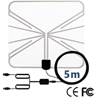 HDTV Antenna, 50 Miles Range Indoor Amplified TV Antenna with Detachable Amplifier Signal Booster and USB Power Supply for TV Indoor, Digital Antenna, 16.5 Ft (5m) Transparent