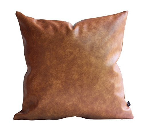 Kdays Thick Faux Leather Euro Sham Throw Pillow Cover Cognac Leather Decorative Throw Pillow Case Farmhouse Decor Sofa Couch Cushion Covers Modern Minimalist Vegan Pillow Cover 24x24 Inches (Measurements Euro Sham)