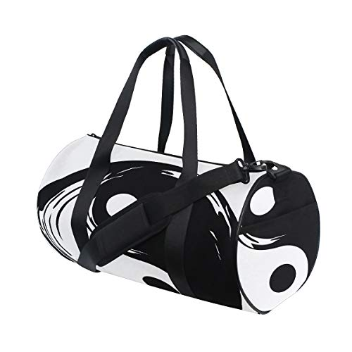 Chinese Yin Yang Tao Mandala Element Custom Multi Lightweight Large Yoga Gym Totes Handbag Travel Canvas Duffel Bags With Shoulder Crossbody Fitness Sports Luggage For Boys Girls Mens Womens