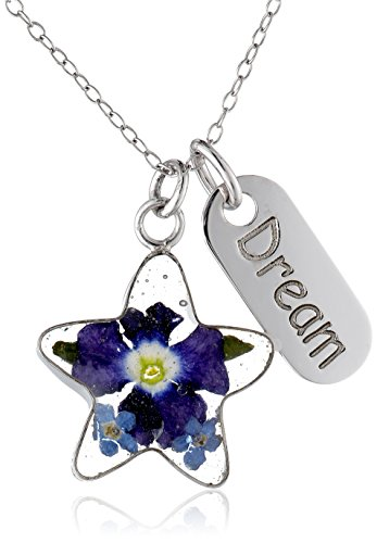 """Sterling Silver Pressed Flower Star and Dream Tag Pendant Necklace, 18"""""""