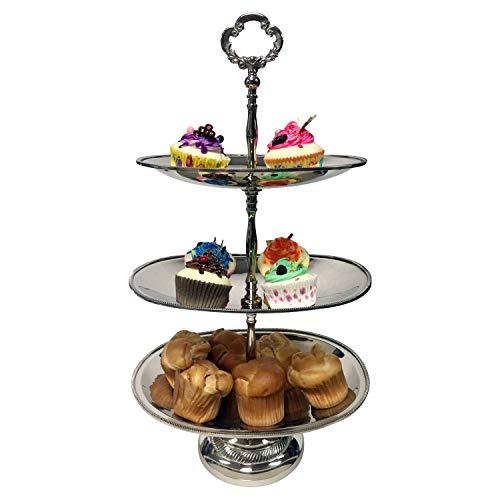 - GiftBay Wedding 3-tier Cupcake Server, Unique Oval Shape, Nickel Plated on BRASS, 20
