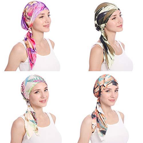 shengyuze Fashion Floral Printed Breathable Women Head Wrap Hat Muslim Hijab Turban Decor - Rose Red by shengyuze (Image #4)