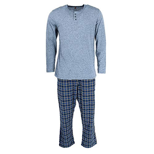 (Hanes Men's Cotton Long Sleeve Shirt and Flannel Pajama Pants, Medium, Blue)