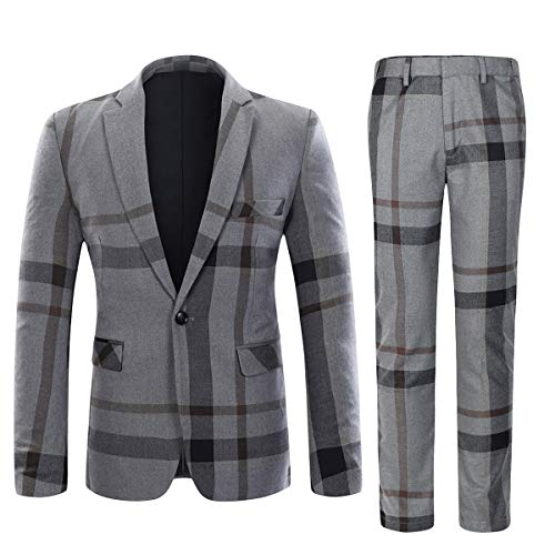 YFFUSHI Mens Plaid 2 Piece Suit Set Blazer Jacket Tux Suit Pants (Grey, Medium) ()