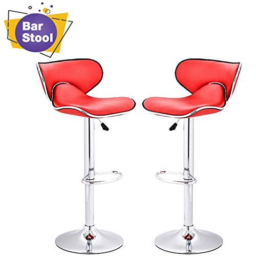 Photo BestOffice Counter Height Bar Stools Set of 2 Barstool Swivel Counter Stools Height Adjustable PU Leather Kitchen Stools with Back Dining Chairs