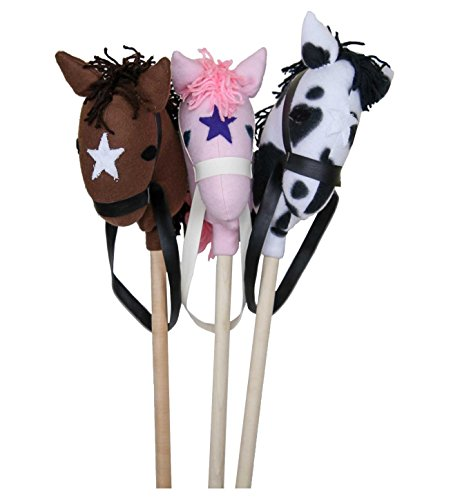 Classic Ride On Stick Horse Toy Maple Wood Made in the USA, PINK by Clip Clop