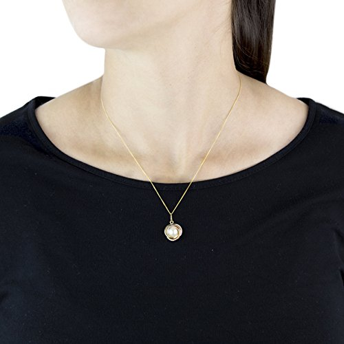 Carissima Gold - Pendentif - 375/1000 - Or tri colore - Rond - Perles d'imitation - Blanc - Femme
