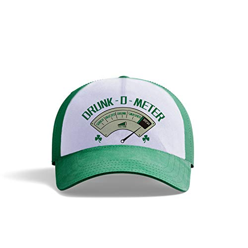 AVOIN colorlife Irish Green Shamrock Clover Leaf Baseball Fitted Cap | St Patricks Day Party Funny Saying Drunk-0-Meter Adjustable Dad-Hat Unisex -