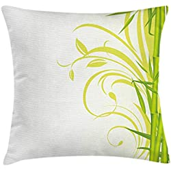 Ambesonne Green Throw Pillow Cushion Cover, Bamboo with Artistic Floral Curly Leaves Asian Feng Shui Zen Garden, Decorative Square Accent Pillow Case, 16 X 16 Inches, Lime Green Pale Green White