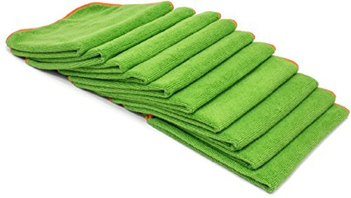 10 Antibacterial Microfiber Cloth 12'' Towels | EPA Registered With Silverclear For Cleaning Kitchen, Bath or Car Auto Detailing | Kills Viruses, Bacteria, Staph and MERSA | Washable reusable washcloth by KYUSport