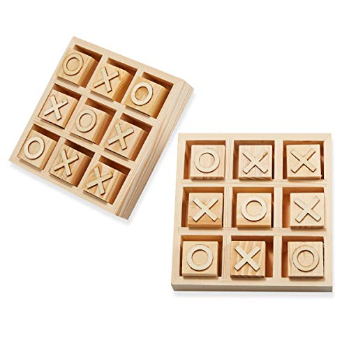 Genie Crafts 2-Pack Unfinished Wooden Tic Tac Toe Game Board Sets, 5.5 Inches